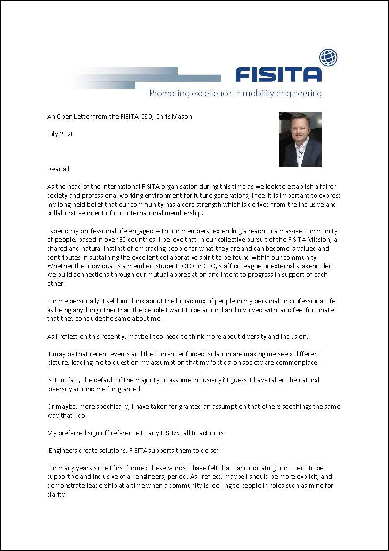 Open letter on equality, diversity and inclusion from FISITA CEO Chris Mason