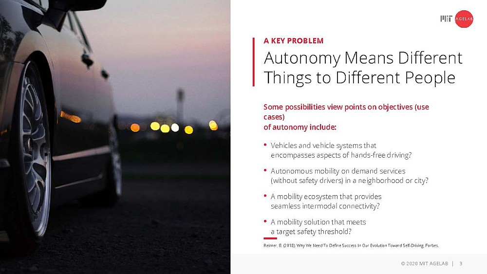 Key problem: Autonomy means different things to different people